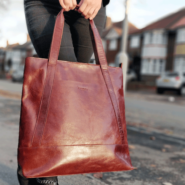'BARBARA' Brown Vintage Waxy Polished Leather Tote Bag