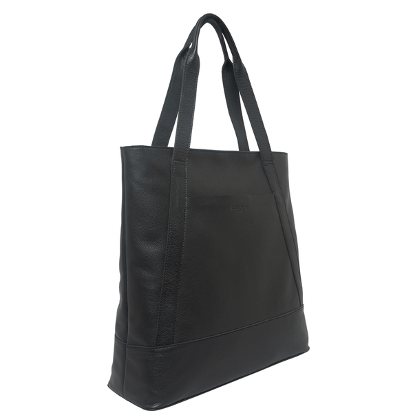 'BARBARA' Black Soft Pebble Grain Leather Tote Bag