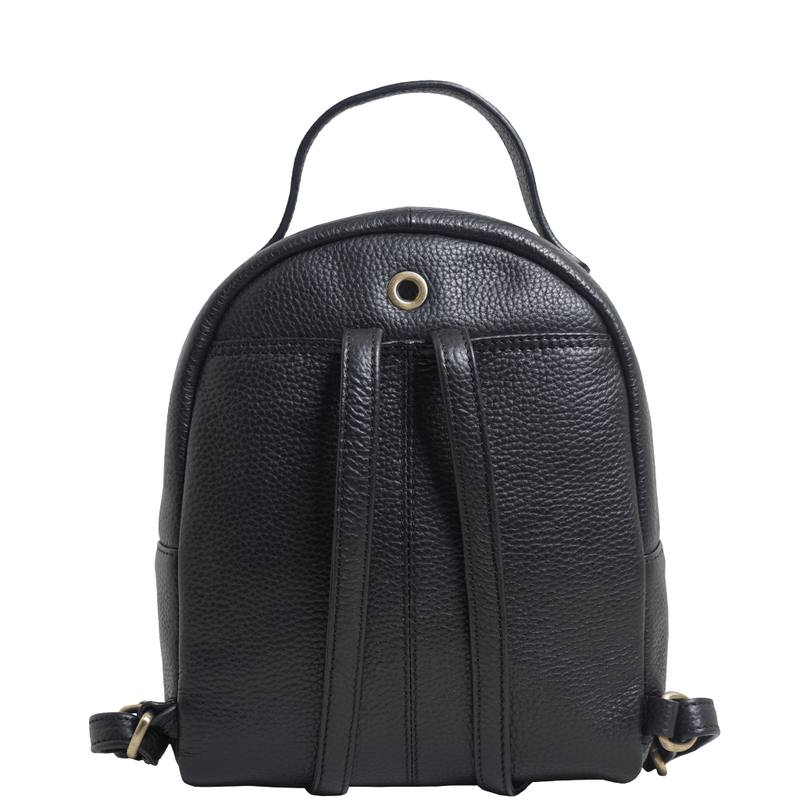 'BETTY' Black Pebble Grain Zip Top Mini Leather Backpack