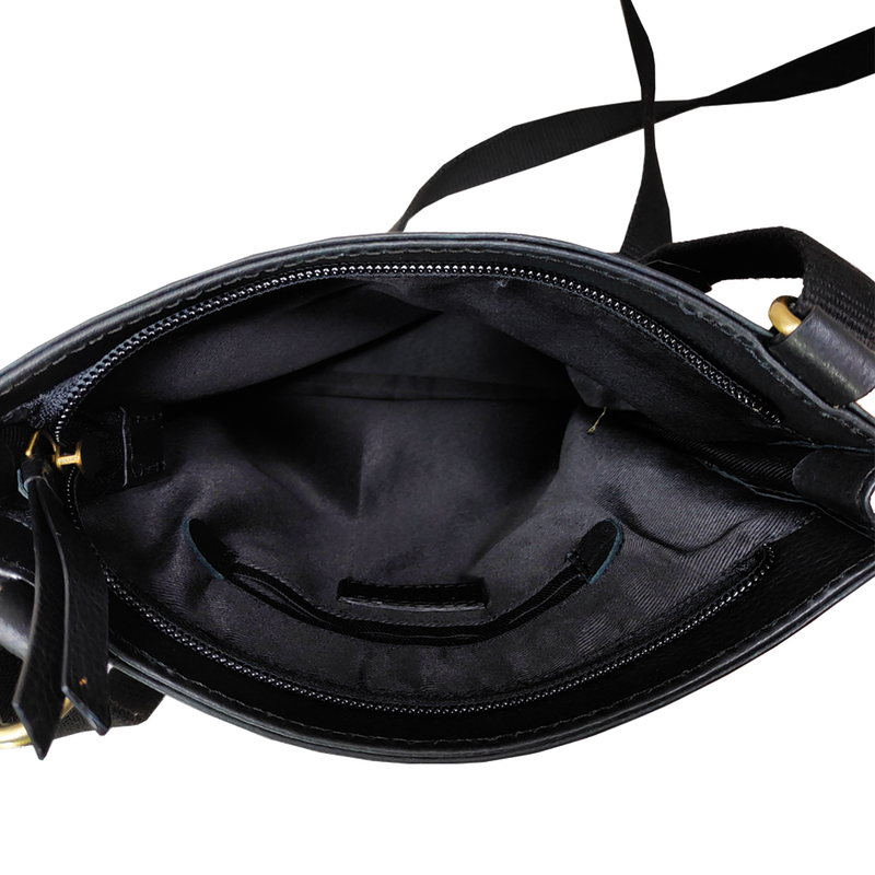 'BRYN' Black Leather Cross Body Bag