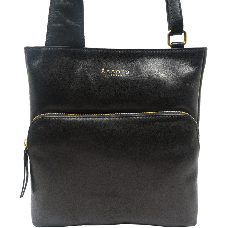 'CANARY' Black Vintage Waxy Polished Leather Crossbody bag