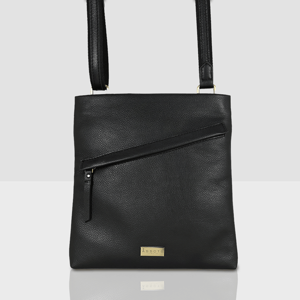 'FLORENCE' Black Full Grain Soft Nappa Leather Crossbody Sling Bag