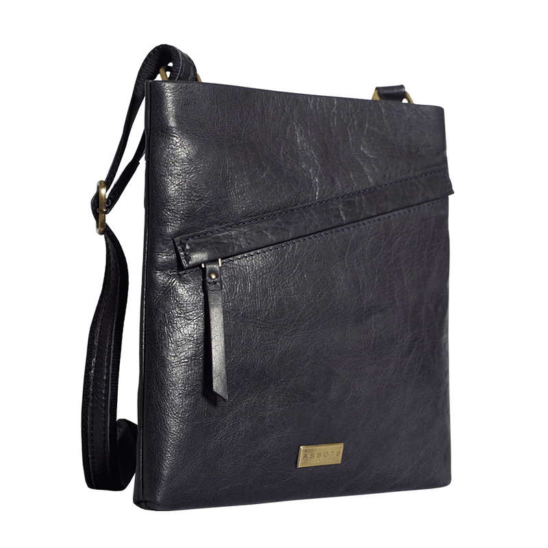 'FLORENCE' Navy Full Grain Soft Nappa Leather Crossbody Sling Bag
