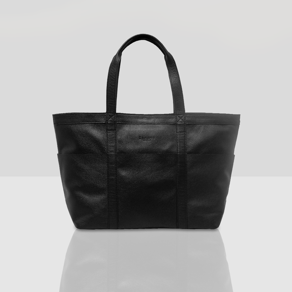 'ALICE' Black Soft Multipocket Oversized Leather Shopper Bag