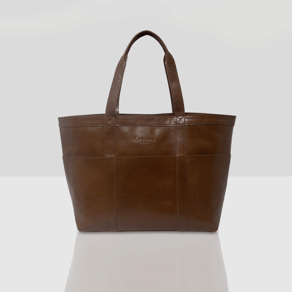 'ALICE' Brown Multipocket Oversized Leather Shopper Bag