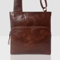 'CANARY' Brown Vintage Waxy Polished Leather Crossbody bag