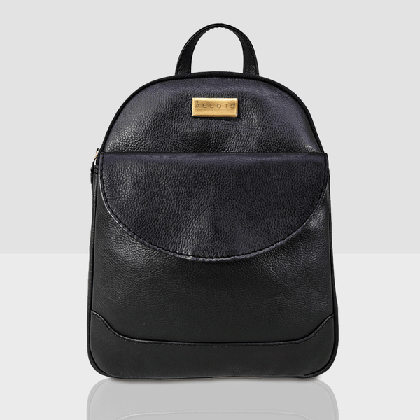 'GEORGE' Black Mini Leather Backpack