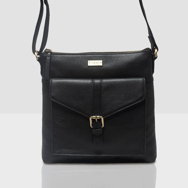 'HOXTON' Black Soft Pebble Grain Leather Crossbody Sling Bag