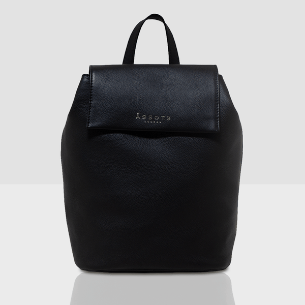 'JERMYN' Black Leather Flap-over Backpack
