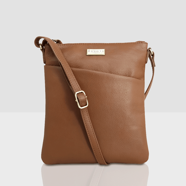 'LINBY' Tan Soft Pebble Grain Leather Crossbody Sling Bag