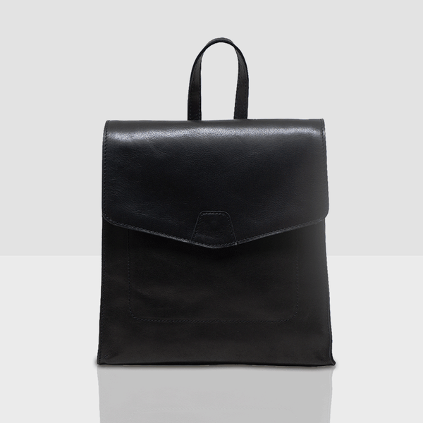 'MARGARET' Black Natural Grain Polished Leather Flap Over Backpack