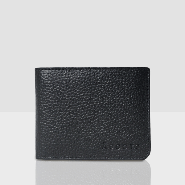 'MASON' Black Pebble Leather Bifold Rfid Wallet