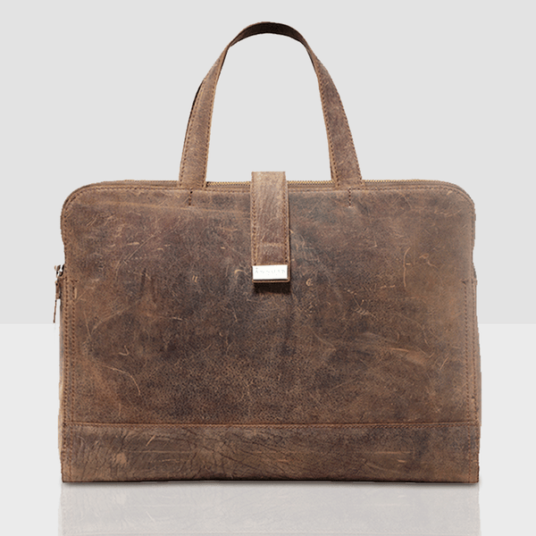 'MAXIM' Brown Vintage Leather Laptop Bag
