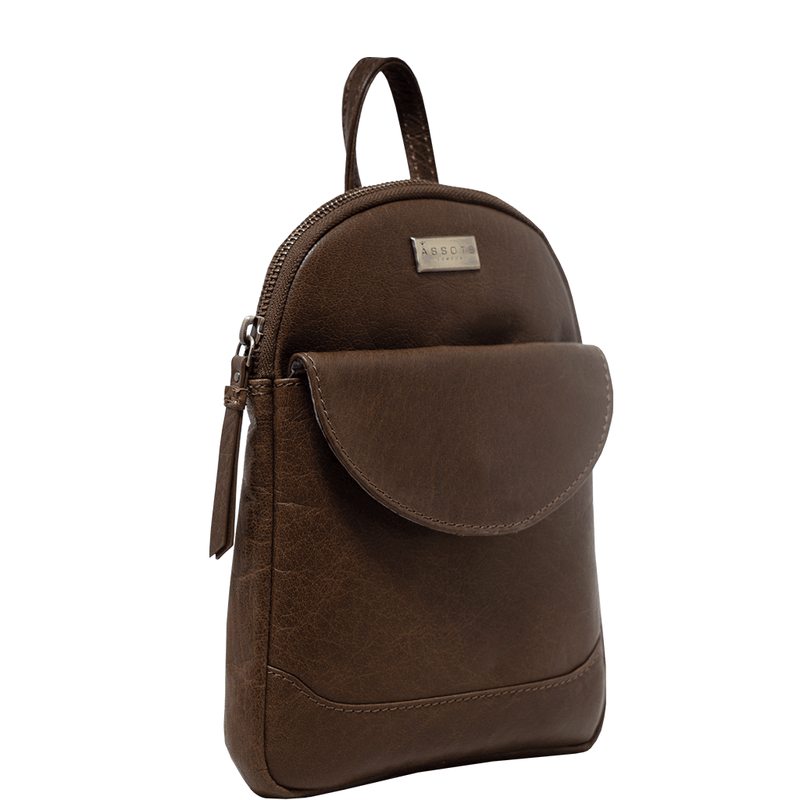 'GEORGE' Tan Mini Leather Backpack