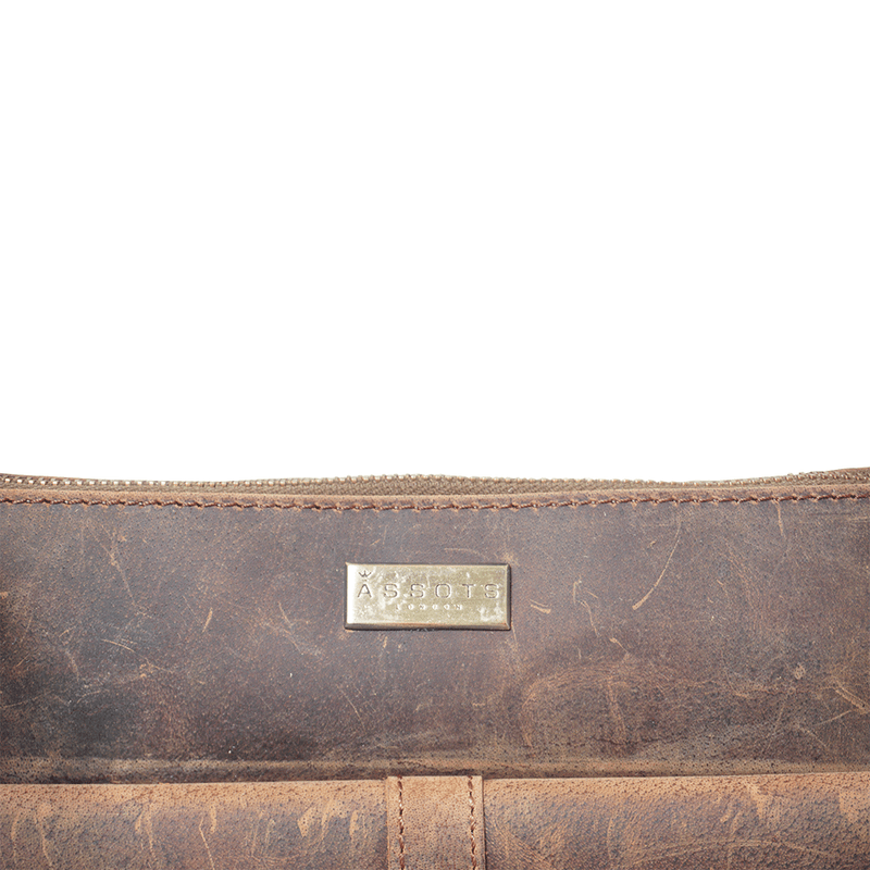 'HOXTON' Brown Vintage Full Grain Leather Crossbody Sling Bag
