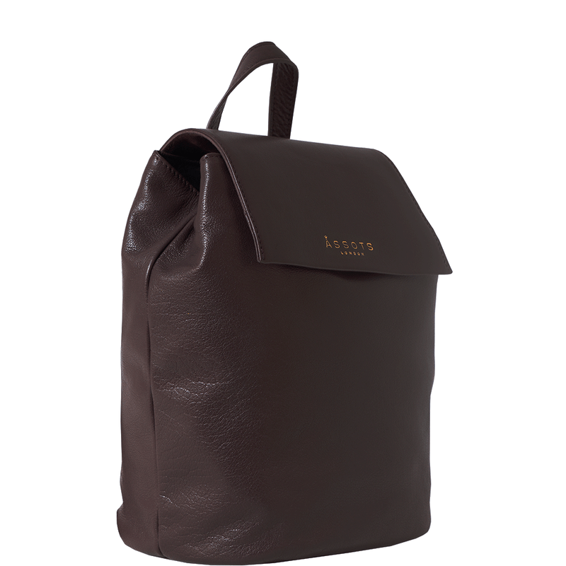 'JERMYN' Raspberry Burgundy Leather Flap-over Backpack
