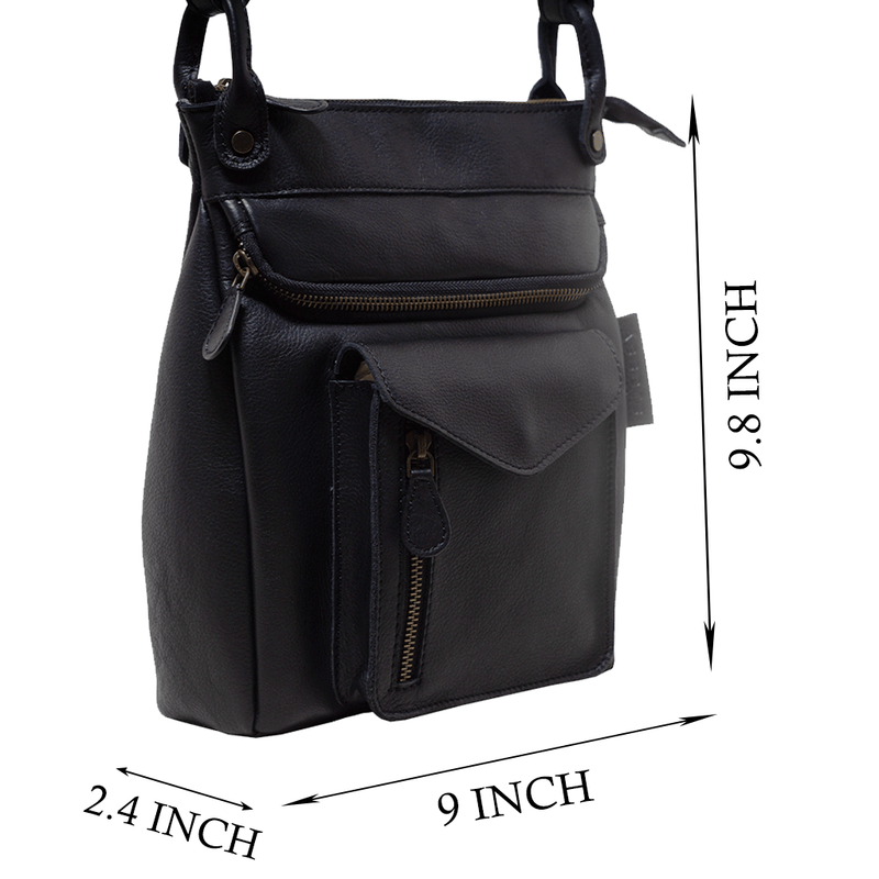 'KEW' Black Pebble Grain Leather Crossbody Bag