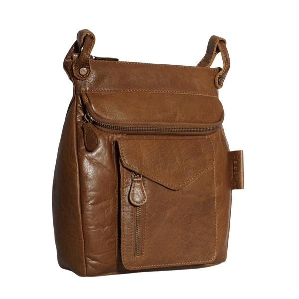 'KEW' Tan Leather Crossbody Bag