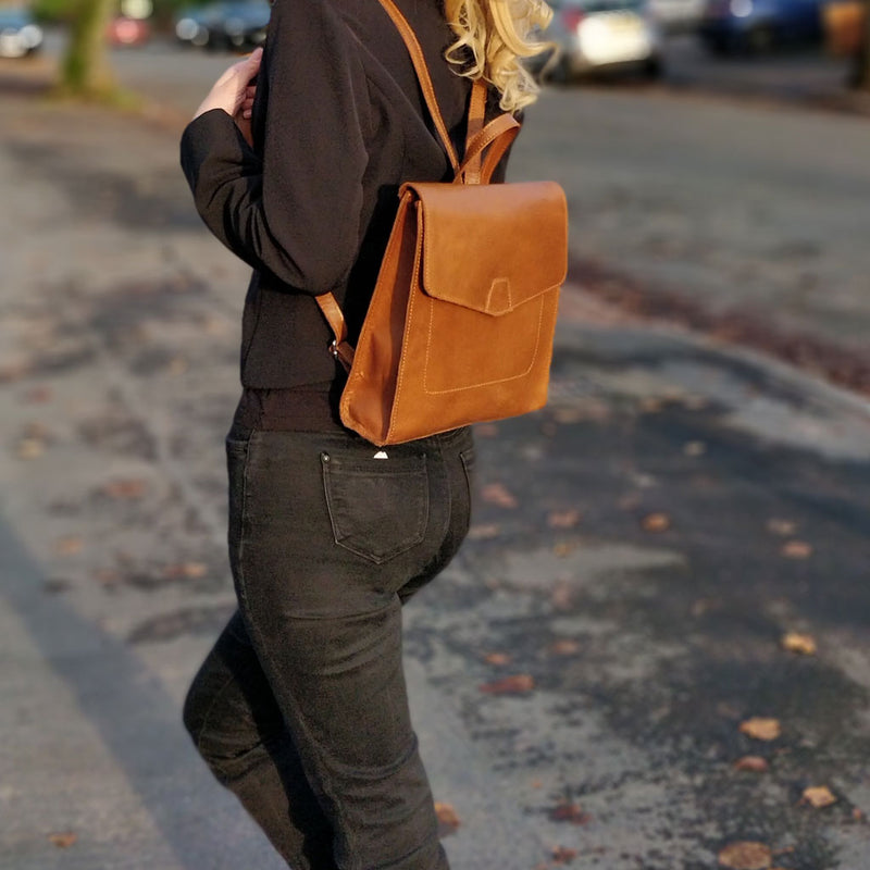'MARGARET' Tan Natural Grain Polished Leather Flap Over Backpack
