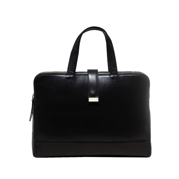 'MAXIM' Black Polished Leather Laptop Bag