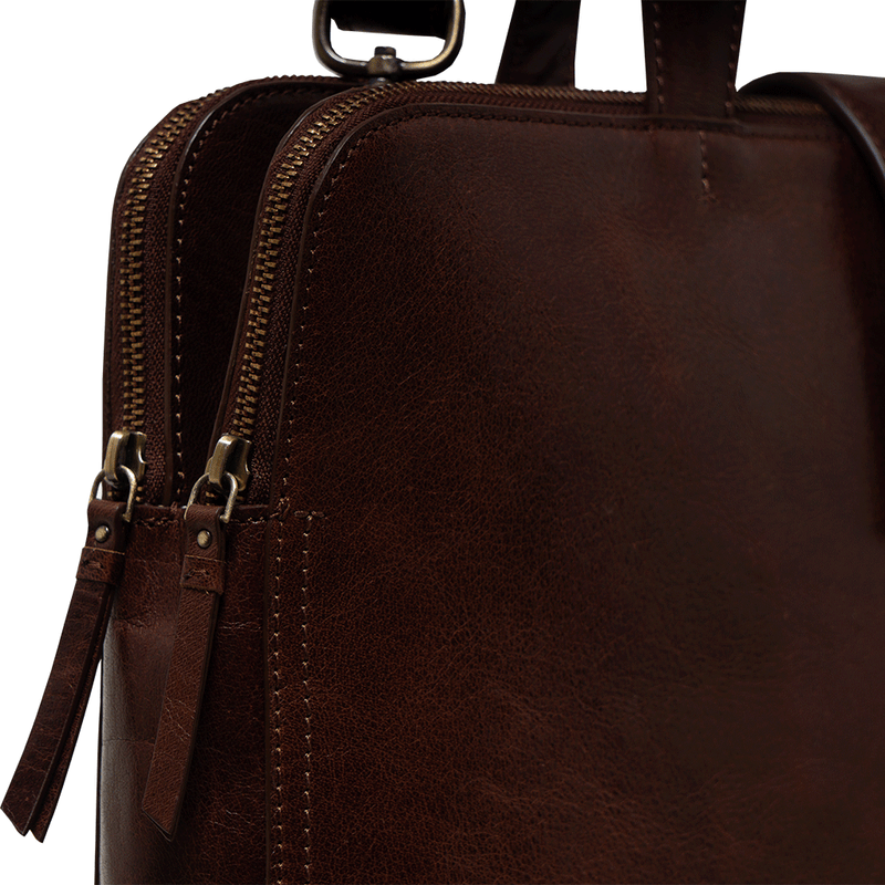 'MAXIM' Brown Polished Leather Laptop Bag