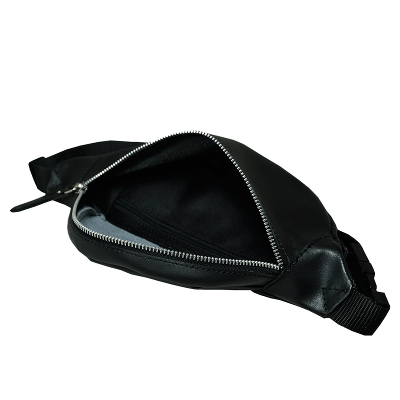 'NOAH' Black Leather Bum Belt Waist Fanny Pack Bag