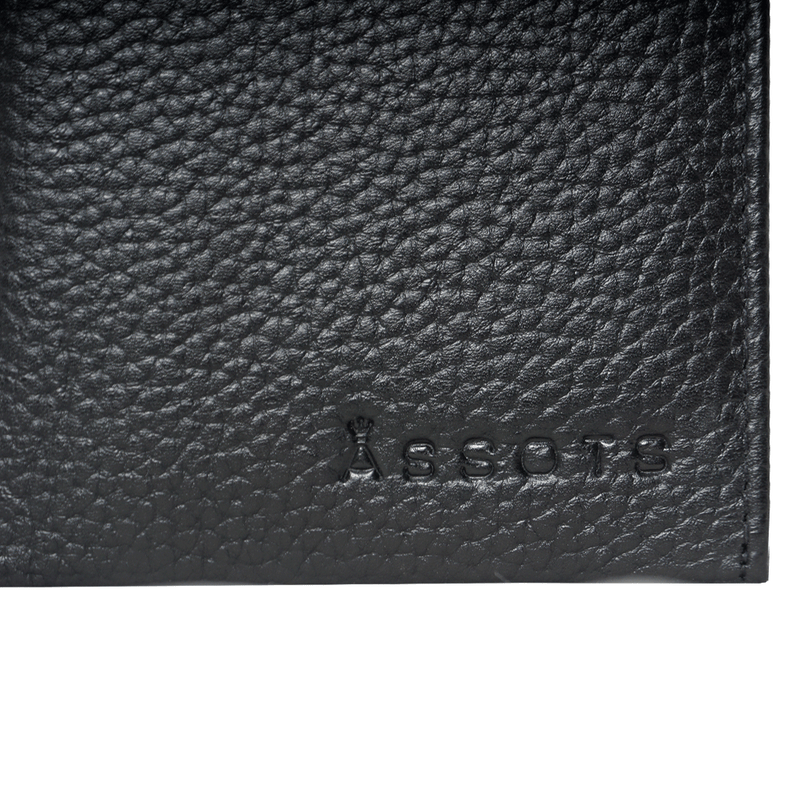 'OLIVER' Black Pebble Leather Bifold Rfid Wallet