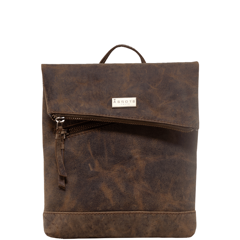 'SIERRA' Vintage Brown Leather Mini Flap Over Backpack