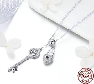 Key of Heart Lock Chain Pendant Necklaces | Women Jewelry| Love Fine Jewelry