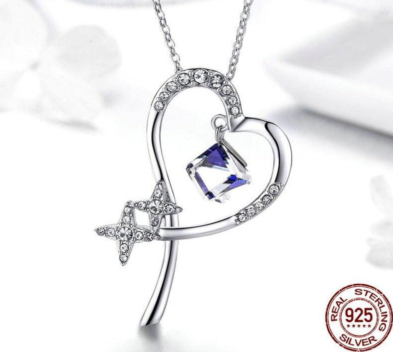 Heart & Star Shape Necklaces Blue Zircon