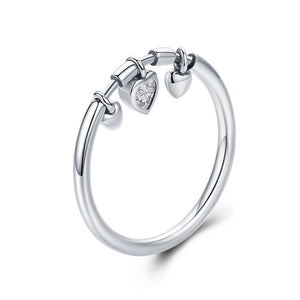 Glittering Heart Clear Ring | Clear Cz Anel Ring | Sterling Silver Ring