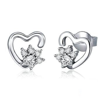 Classic Heart Clear Cubic Zircon Earrings
