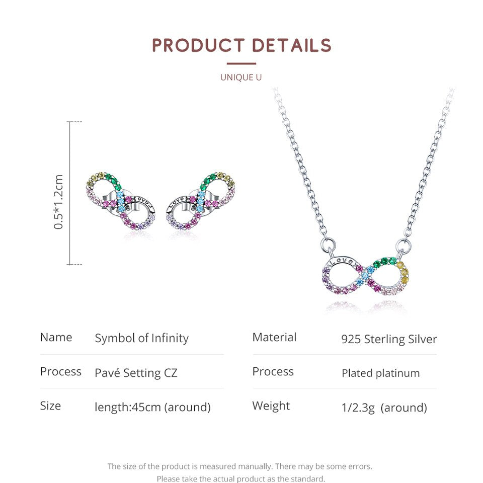 Rainbow Color Infinite Love Necklace and Stud Earrings