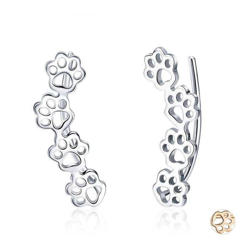 Silver Footprints Stud Earrings