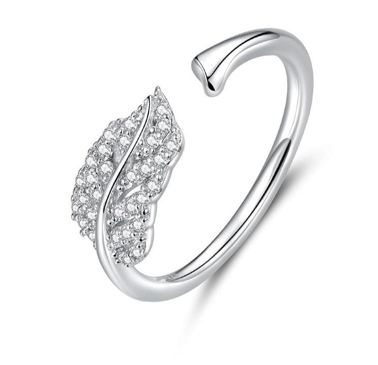 Silver Leaf Rings | Open Ring | Rings for Women | Sterling Silver Leaf Ring