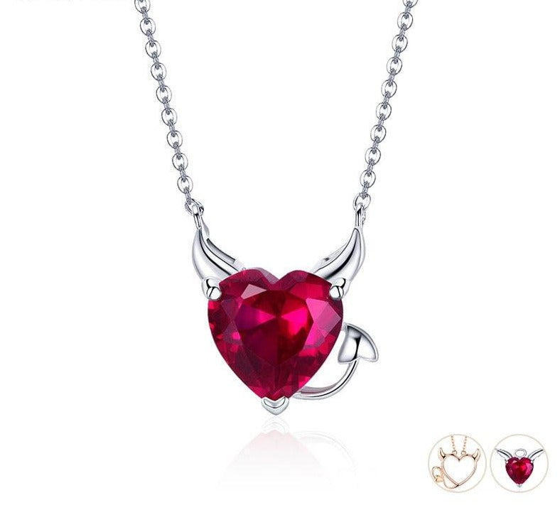 Devil Wings Red CZ Necklaces