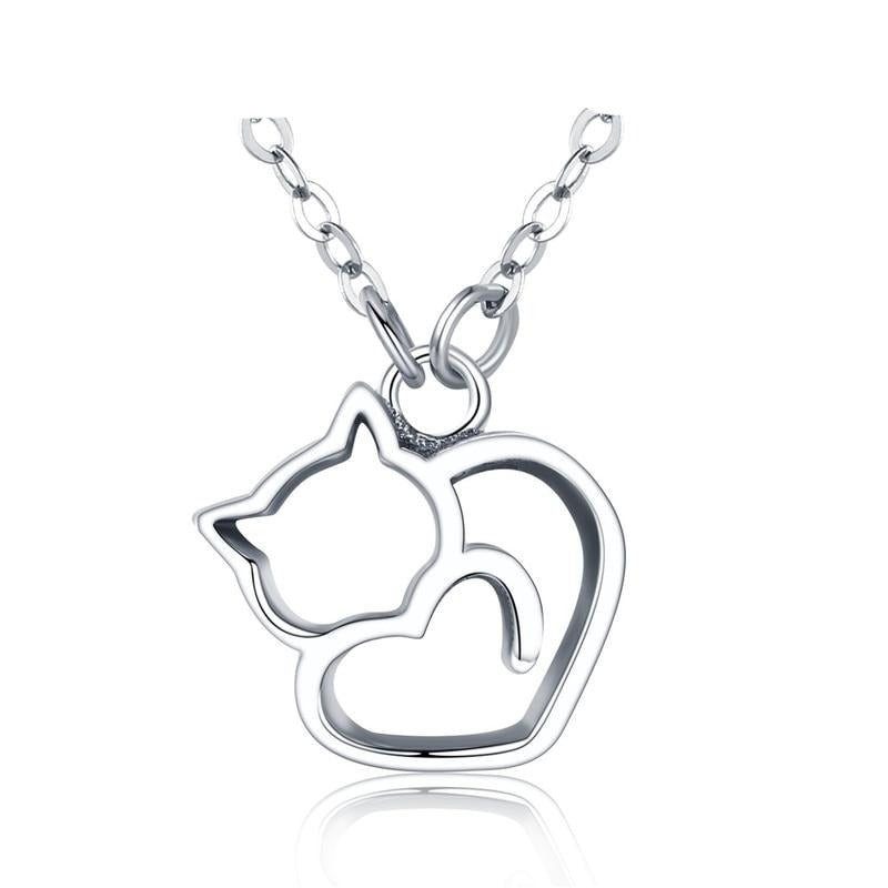 Sterling Silver Cat Necklace | Dainty Necklace | Heart Necklace | Necklace for Women | Lovely Cat Necklace|