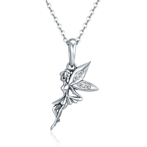Flower Fairy Long Necklace | Women Sterling Silver Necklace