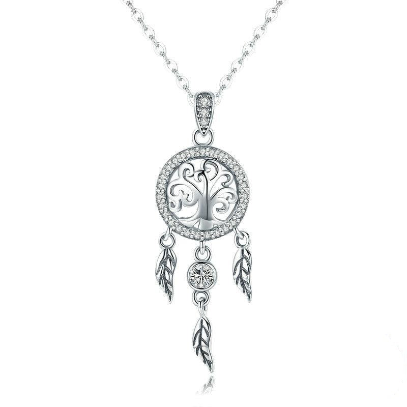 Dream Catcher Necklace | Sterling Silver Necklace | Long Chain Necklace