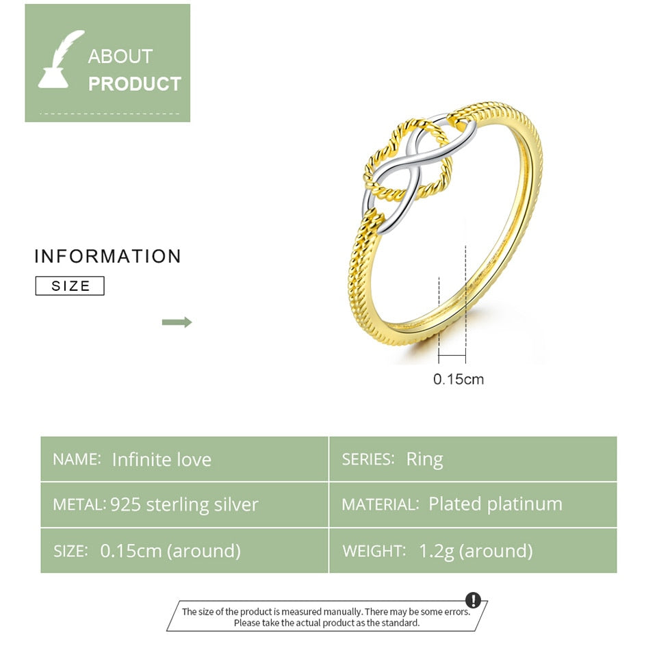 Infinity Love Gold Color Rings