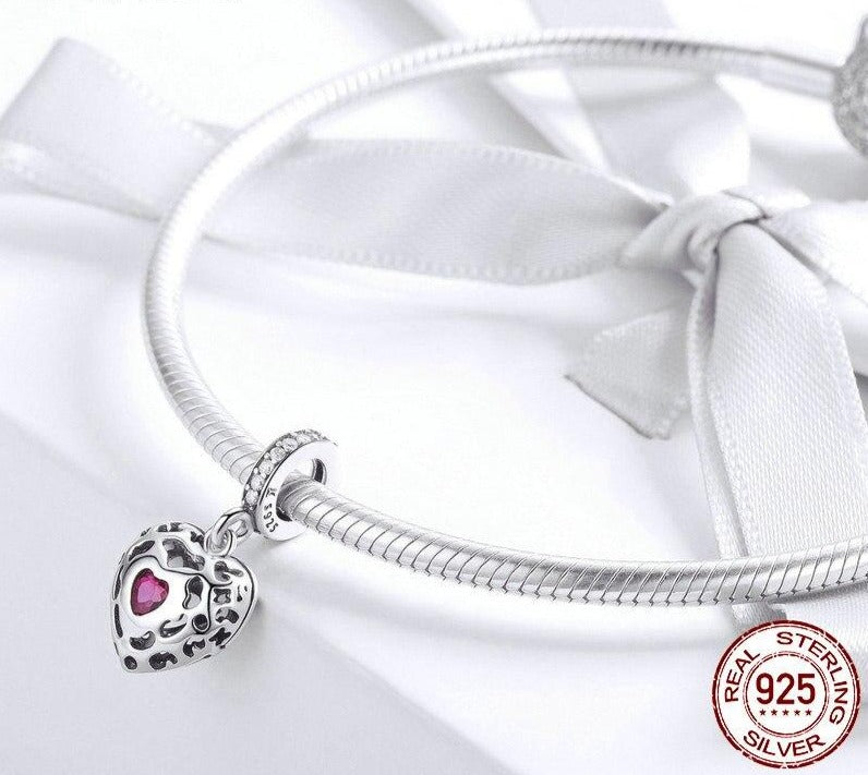 Happiness Heart Pink CZ Charms