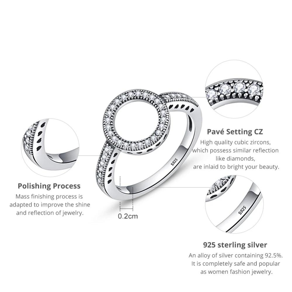 Forever CZ Circle Round Square Silver Ring
