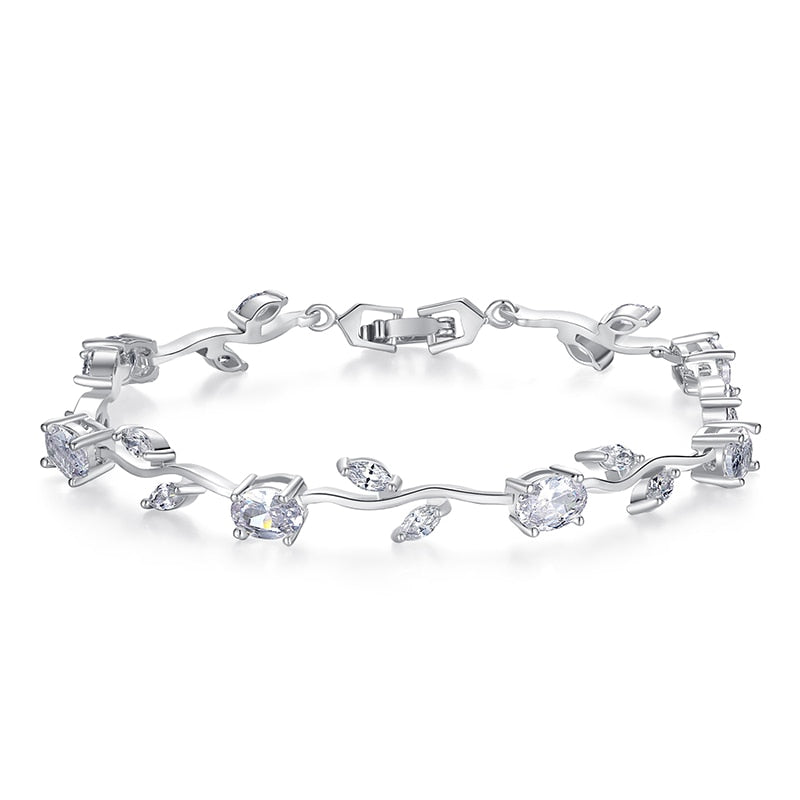 Chain & Link Bracelet with Zircon
