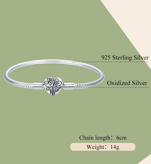 Silver Spring Tree of Life Heart Shape  Bracelet