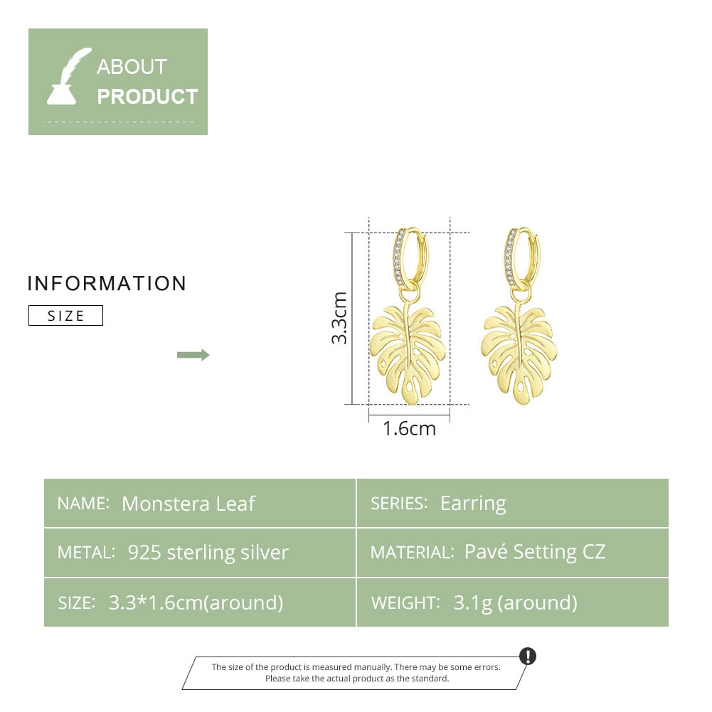 Gold Colour Drop Earrings Leaf Style