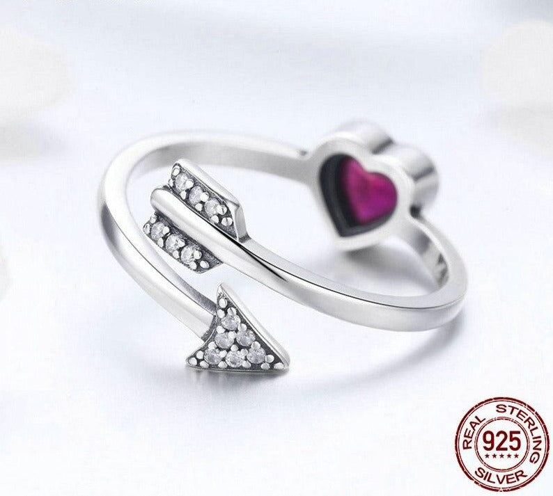 Red Heart And Love Arrow Rings