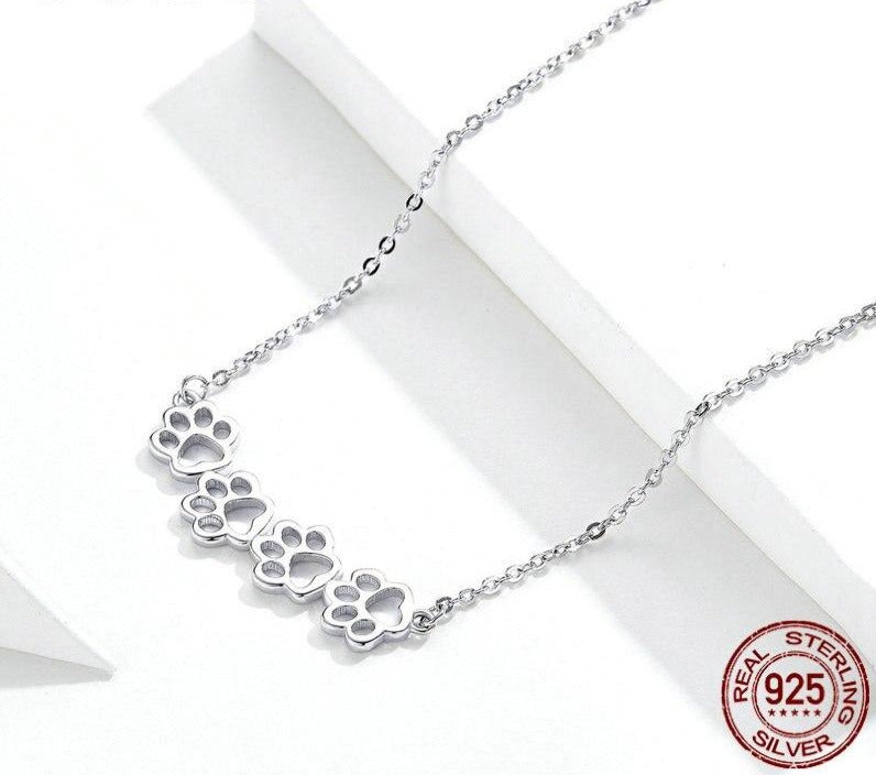 Dog and Cat Paw Silver Choker Necklace