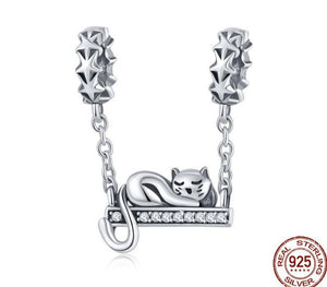 Cat Star Charms | Sleeping Cat Charm |925 Sterling Silver Bead