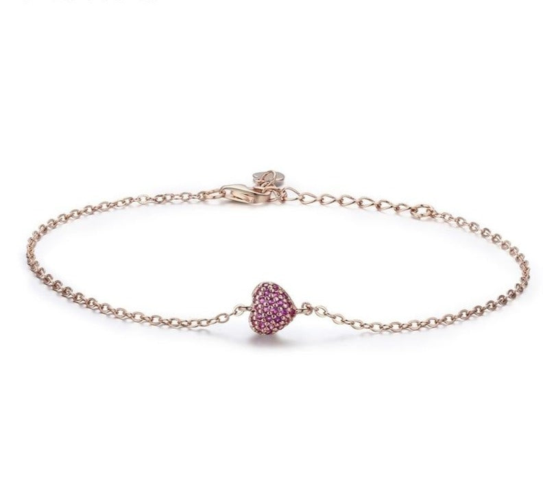 Romantic Heart Chain Link Bracelet