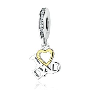 I Love DAD Love Heart Charms | Pendant for Father's Day